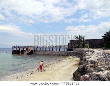 Man Sweeps the Beach
