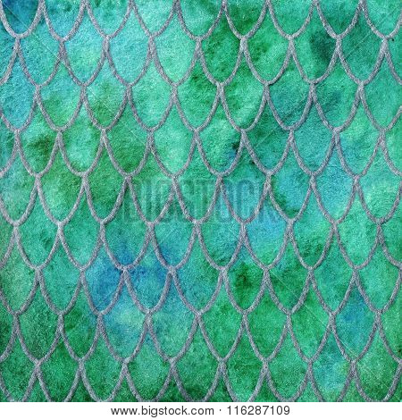 Dragon Skin Scales Green Silver Emerald Pattern Texture Background
