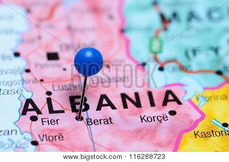 Berat pinned on a map of Albania