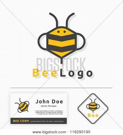 bee logo for honey business and products.