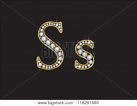Ss Diamond Jeweled Font With Gold Channels
