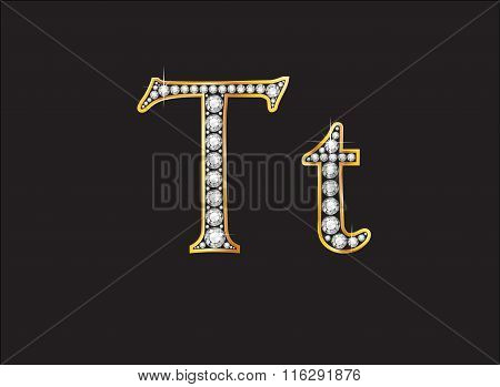 Tt Diamond Jeweled Font With Gold Channels