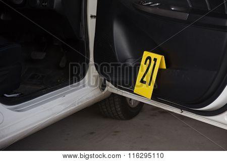 Evidence marker In Vehicl Crime Scene