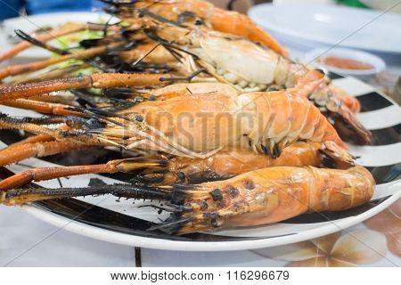 Grilled Prawns Serving On Dish