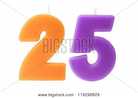Colorful birthday candles in the form of the number 25 on white background