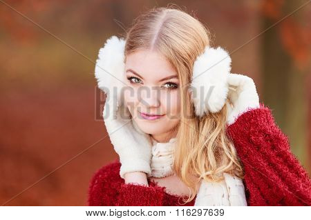 Pretty Gorgeous Woman In Earmuffs.