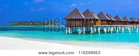 luxury Maldives vacation - panorama with water bungalows