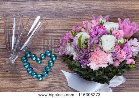 Valentine Flowers On With Heartshaped Jewellery
