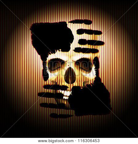 Hand On The Background Of Skulls