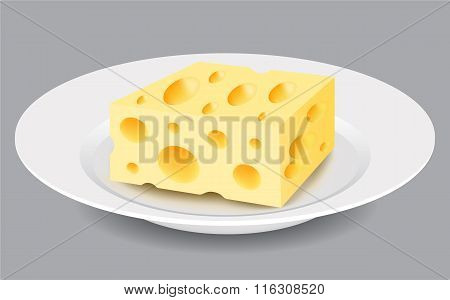 Slice of Cheese on a Plate. Vector Illustration.
