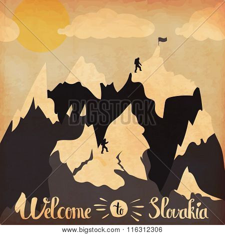 Vintage Handlettering Poster On The Theme Of Winter Tourism. Landscape Mountains Welcome To The Reso