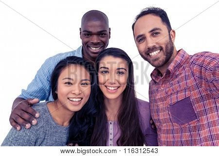Portrait of happy multi-ethnic friends against white background