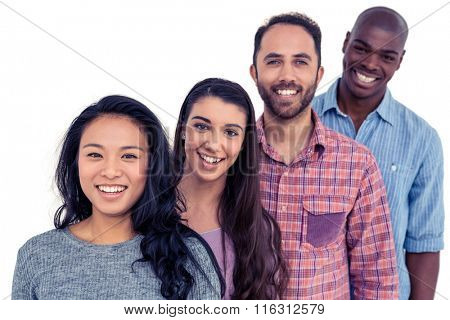 Portrait of smiling multi-ethnic friends standing in line against white background