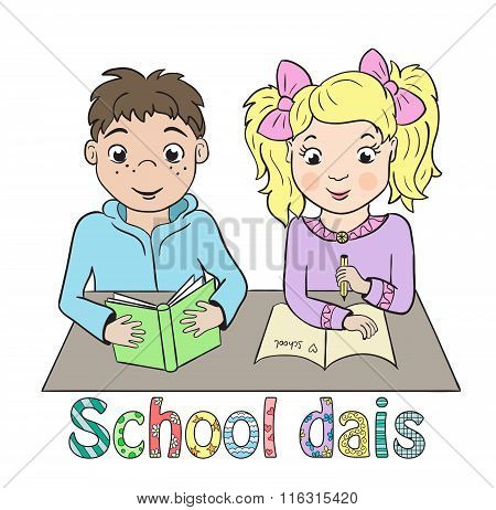 Boy And Girl Sitting At School Desk