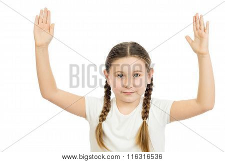 The Girl Who Placed Hands Over The Head
