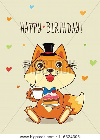 Happy Birthday Card Funny Fox With In A Bowler Hat And Cake In His Hands. Vector Cartoon Animals Illustration. Funny Cat Memes. Funny Cat Jokes. Funny Cat Gourmet. Funny Cat Poster. Funny Cat Stuff.