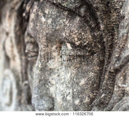 Woman's Face. Cemetery Sculpture. Close-up.