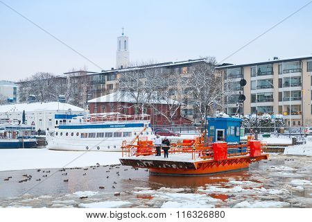 Passengers On Historic City Boat Fori, Traffic Ferry, Turku