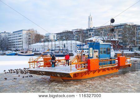 Ordinary Passengers Go On City Boat Fori, Turku, Finland