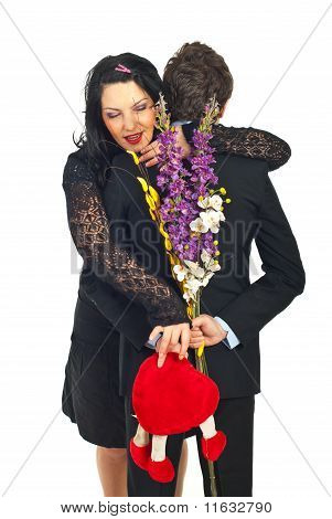 Eager Woman To Take Her Valentine Gift