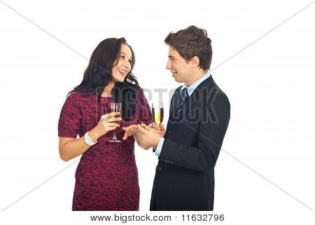 Man Giving The Wedding Ring To Hie Girlfriend