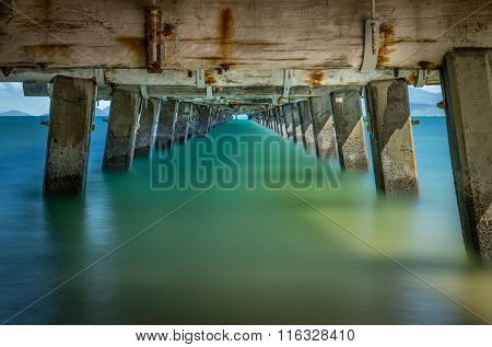 Calm water under the jetty