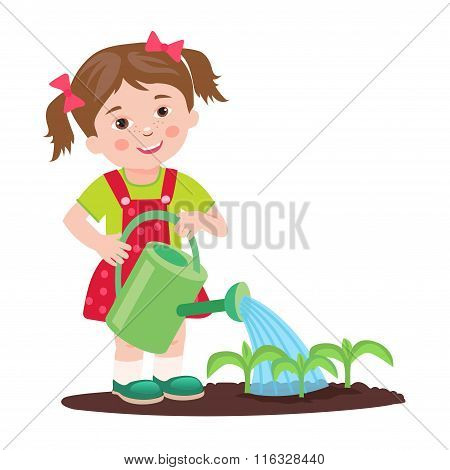 Young Girl Working In The Garden. Garden Watering. Cartoon Vector Illustration On A White Background. Young Farmer Success. Farmer Gifts. Farmer's Daughter. Cultivating. Good Job. Farmer.