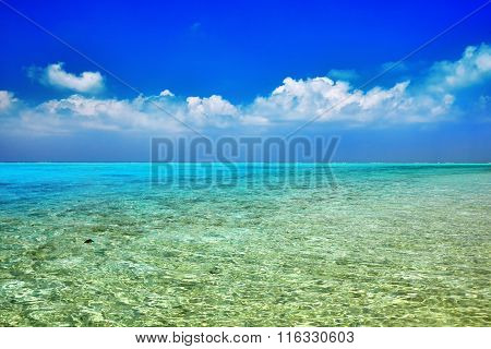 Skyline Of Indian Ocean View From  Tropical Island In The Maldives.