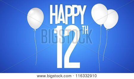 Happy Birthday Card - Boy With White Balloons - 12 Years Greeting Postcard - Illustration Anniversar
