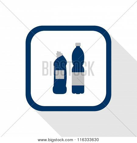 Vector Square Dark Blue Icon Plastic Material Bottles With Long Shadow - Symbol Of Packaging Goods