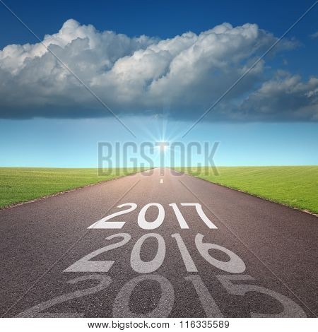 Empty Road Concept To Upcoming 2016 New Year