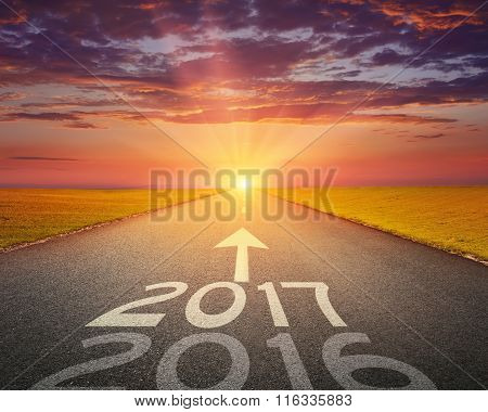 Empty Road To Upcoming 2017 At Sunset