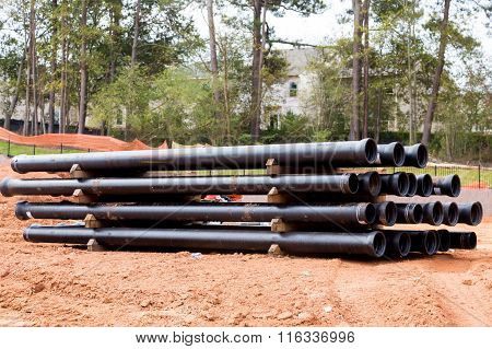Black Sewer Pipes From Side