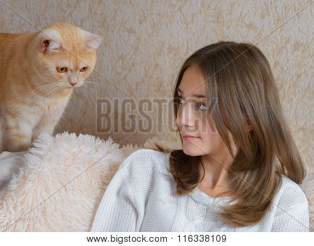 Girl And Red Cat