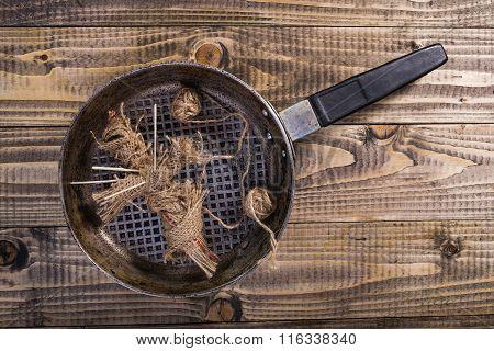 Sackcloth Voodoo Doll In Pan