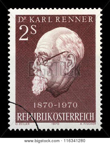 AUSTRIA - CIRCA 1970: A stamp printed in Austria shows Karl Renner (1870-1950), president of Austria, circa 1970