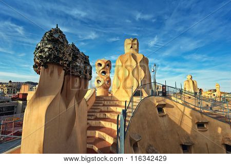 BARCELONA, SPAIN - MAY 10,2014: Gaudí project.Rooftop and Terrace of the Casa Mila (La Pedrera)