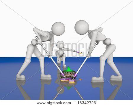 Teamwork In Curlers