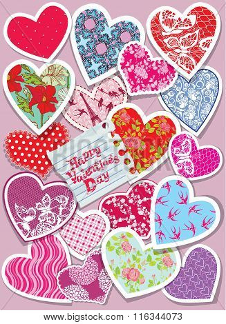 Vintage Card With  Different Colors And Ornaments Paper Hearts - Background For Valentines Day Desig