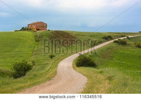 Tuscany Farmhouse With Lightning At Horizon, Pienza, Italy