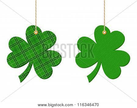 St. Patrick's day hanging clovers (shamrock). Vector illustration.