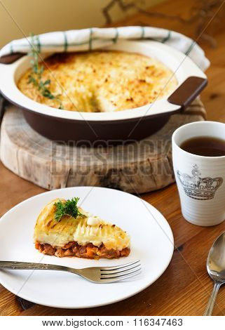 shepherd's or traditional cottage pie with tea