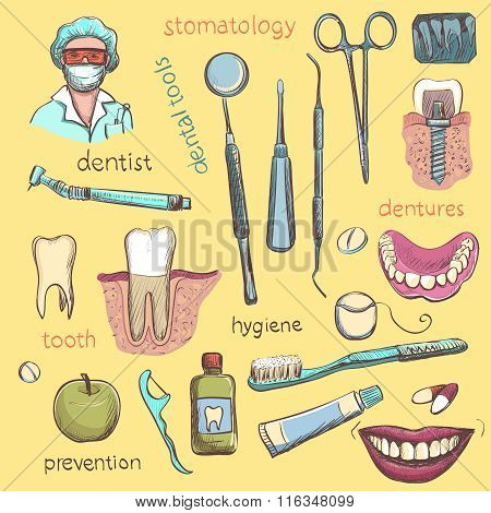 Vector Set. Dentist and Tooth Care Icons