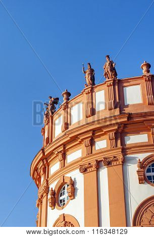 Allegories Standing At The Roof Of The Palace Of Wiesbaden Biebrich, Germany