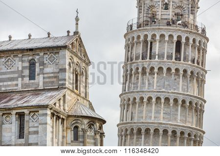 PISA, ITALY - AUGUST 14, 2015: World famous Piazza dei Miracoli in Pisa, Italy (12th century). Leaning tower
