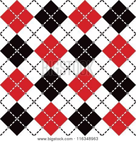 Seamless argyle pattern with dashed lines in red, black and white.