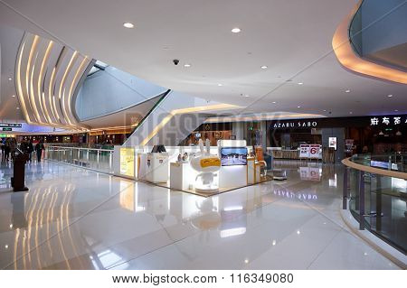 SHENZHEN, CHINA - JANUARY 24, 2016: interior of Shenzhen Vanke Plaza. Shenzhen Vanke Plaza Shopping mall is high-end complex located in the downtown area of Longgang district in ShenZhen