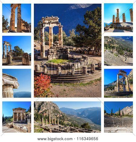 collage of ruins Ancient Delphi, Greece