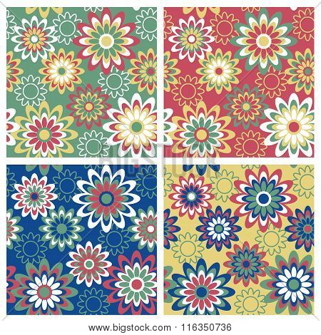 Seamless retro-styled floral pattern in four seasonal colorways.