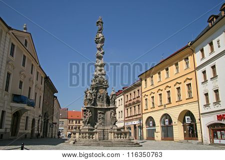Kutna Hora, Czech Republic - April 17, 2010: Plague Column (column Of The Virgin Mary Immaculate) In